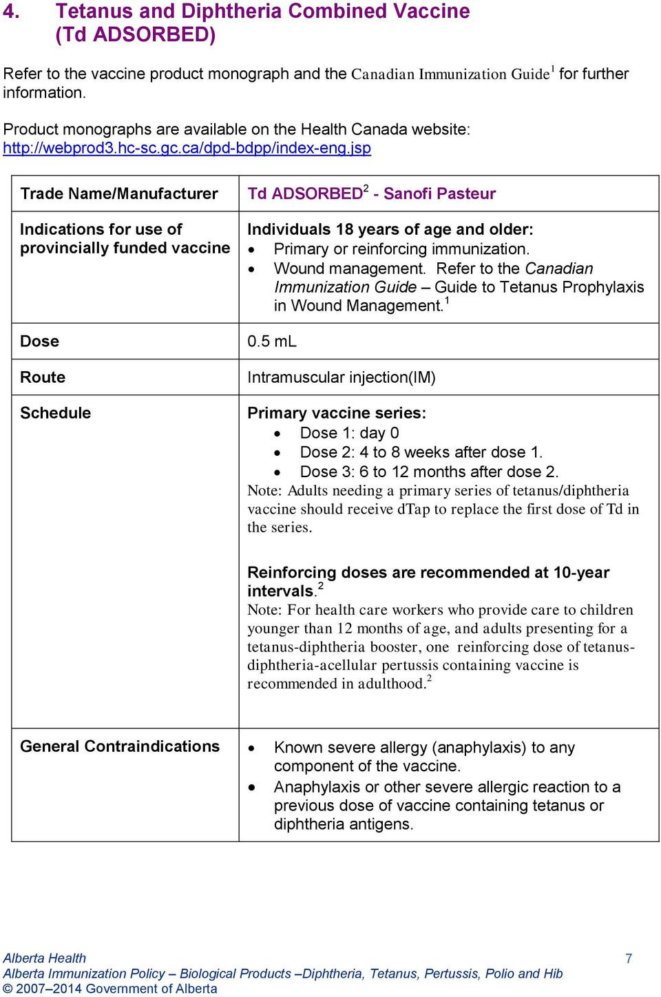 jsp Trade Name/Manufacturer Indications for use of provincially funded vaccine Dose Route Schedule Td ADSORBED - Sanofi Pasteur Individuals 8 years of age and older: Primary or reinforcing