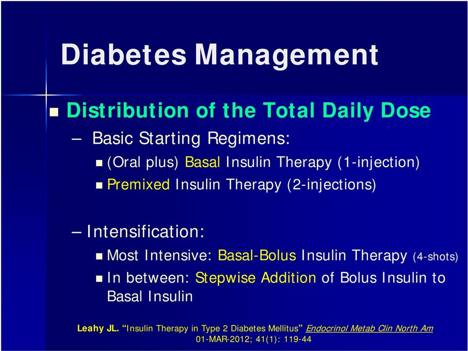 Basal-Bolus Insulin Therapy (4-shots) In between: Stepwise Addition of Bolus Insulin to Basal Insulin