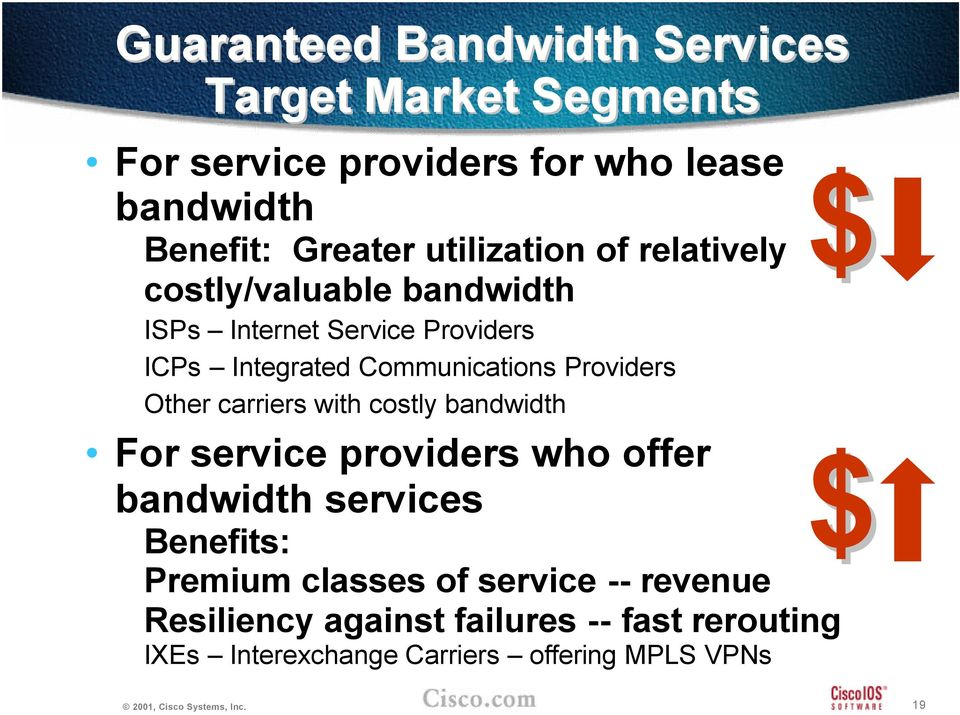 Providers Other carriers with costly bandwidth For service providers who offer bandwidth services Benefits: Premium