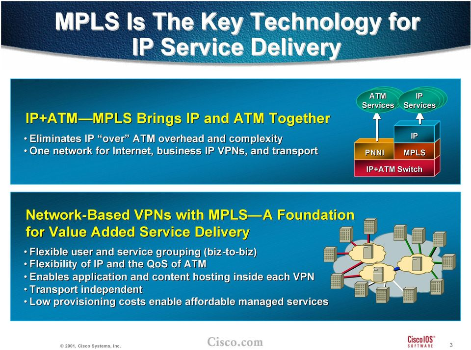 VPNs with MPLS A Foundation for Value Added Service Delivery Flexible user and service grouping (biz-to-biz) Flexibility of IP and the