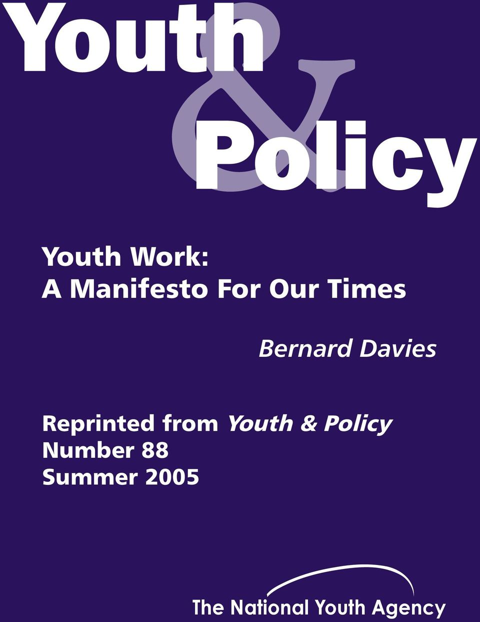 Davies Reprinted from Youth & Policy