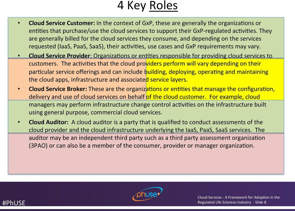 Cloud Service Provider: Organiza<ons or en<<es responsible for providing cloud services to customers.