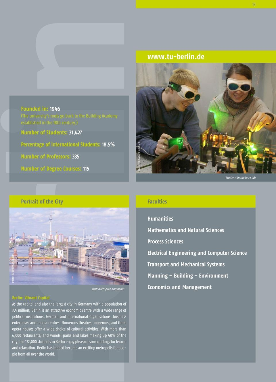 5% Number of Professors: 335 Number of Degree Courses: 115 Portrait of the City View over Spree and Berlin Berlin: Vibrant Capital As the capital and also the largest city in Germany with a