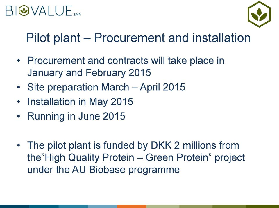 Installation in May 2015 Running in June 2015 The pilot plant is funded by DKK