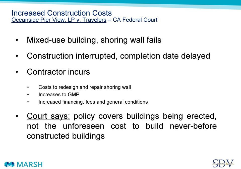 date delayed Contractor incurs Costs to redesign and repair shoring wall Increases to GMP Increased