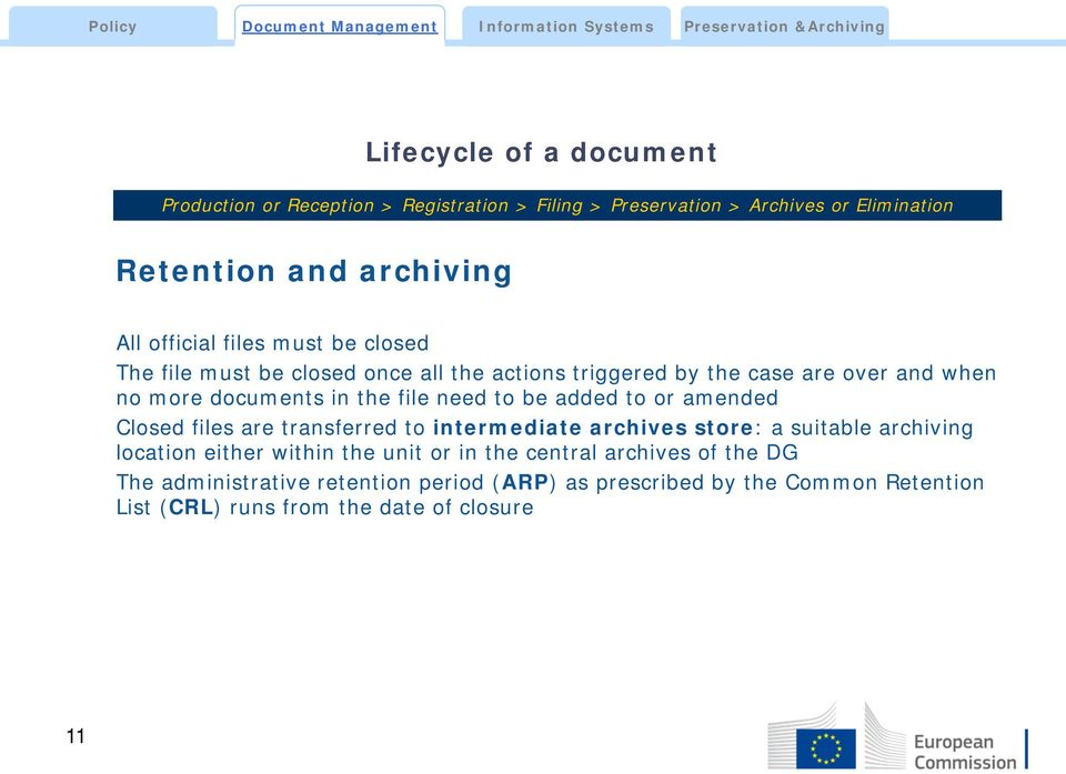 need to be added to or amended Closed files are transferred to intermediate archives store: a suitable archiving location either within the unit or