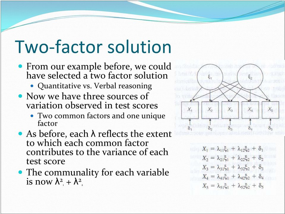 Verbal reasoning Now we have three sources of variation observed in test scores Two common factors