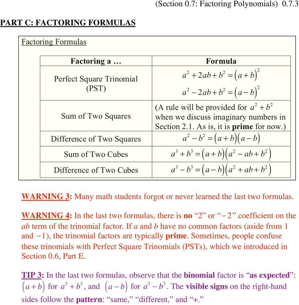 3 PART C: FACTORING FORMULAS Factoring Formulas Factoring a Perfect Square Trinomial (PST) Sum of Two Squares Difference of Two Squares Sum of Two Cubes Difference of Two Cubes Formula 2 a 2 + 2ab +