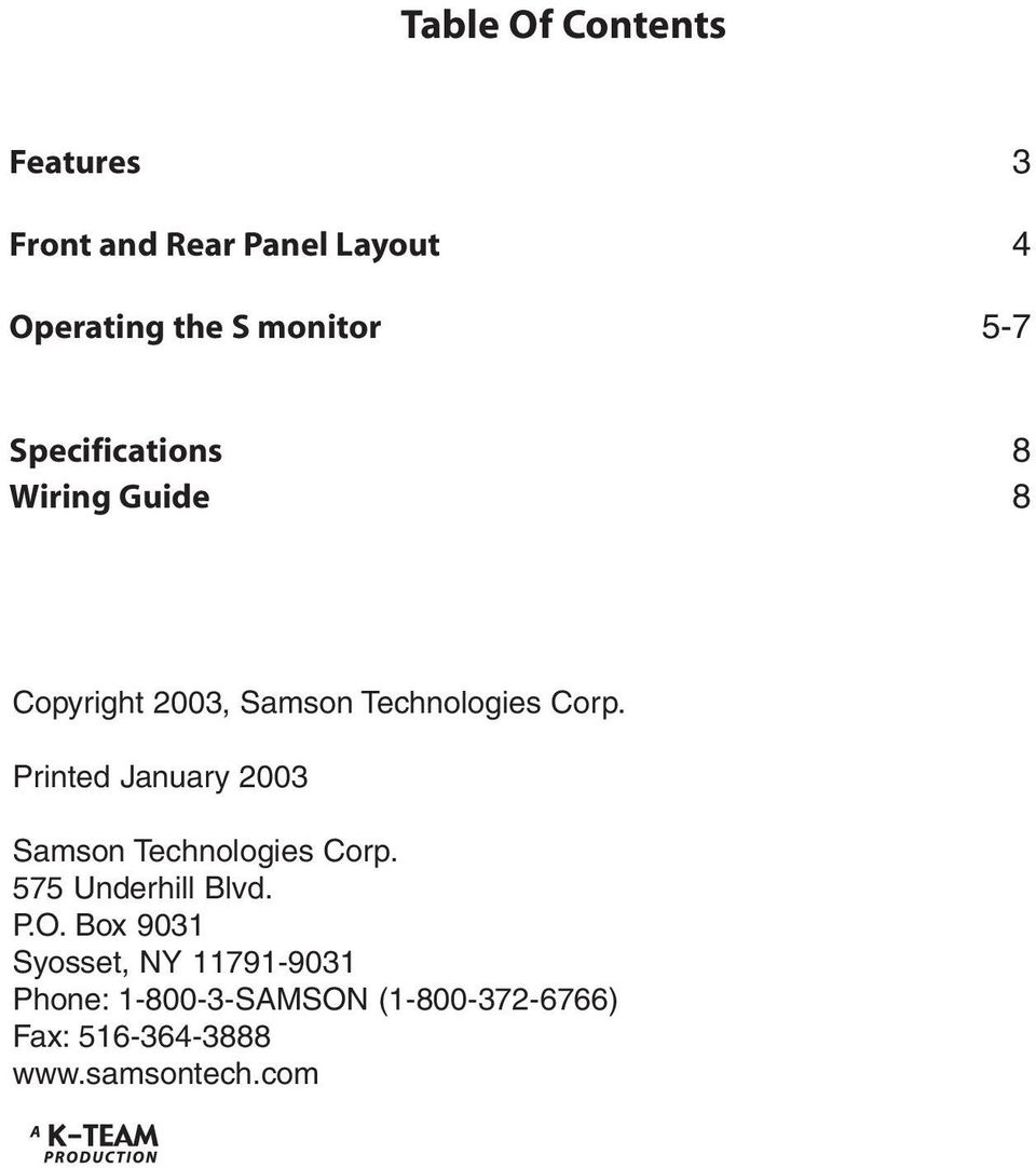Printed January 2003 Samson Technologies Corp. 575 Underhill Blvd. P.O.