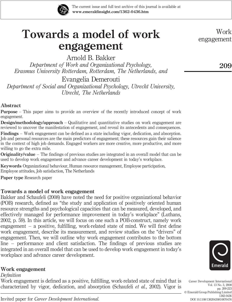 University, Utrecht, The Netherlands 209 Abstract Purpose This paper aims to provide an overview of the recently introduced concept of work.