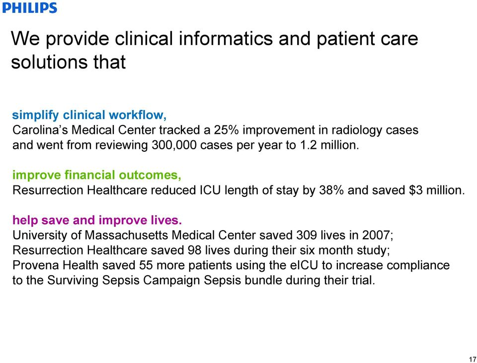 improve financial outcomes, Resurrection Healthcare reduced ICU length of stay by 38% and saved $3 million. help save and improve lives.