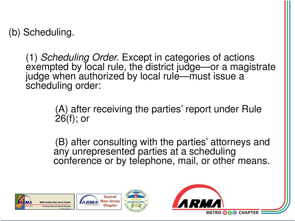 when authorized by local rule must issue a scheduling order: (A) after receiving the parties report
