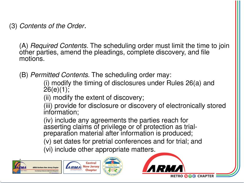 The scheduling order may: (i) modify the timing of disclosures under Rules 26(a) and 26(e)(1); (ii) modify the extent of discovery; (iii) provide for disclosure or