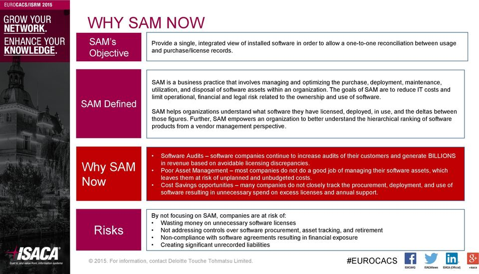The goals of SAM are to reduce IT costs and limit operational, financial and legal risk related to the ownership and use of software.