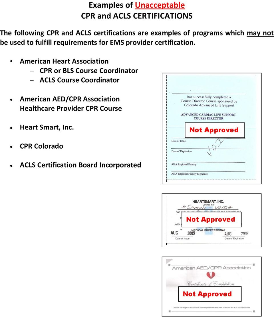 American Heart Association CPR or BLS Course Coordinator ACLS Course Coordinator American AED/CPR Association