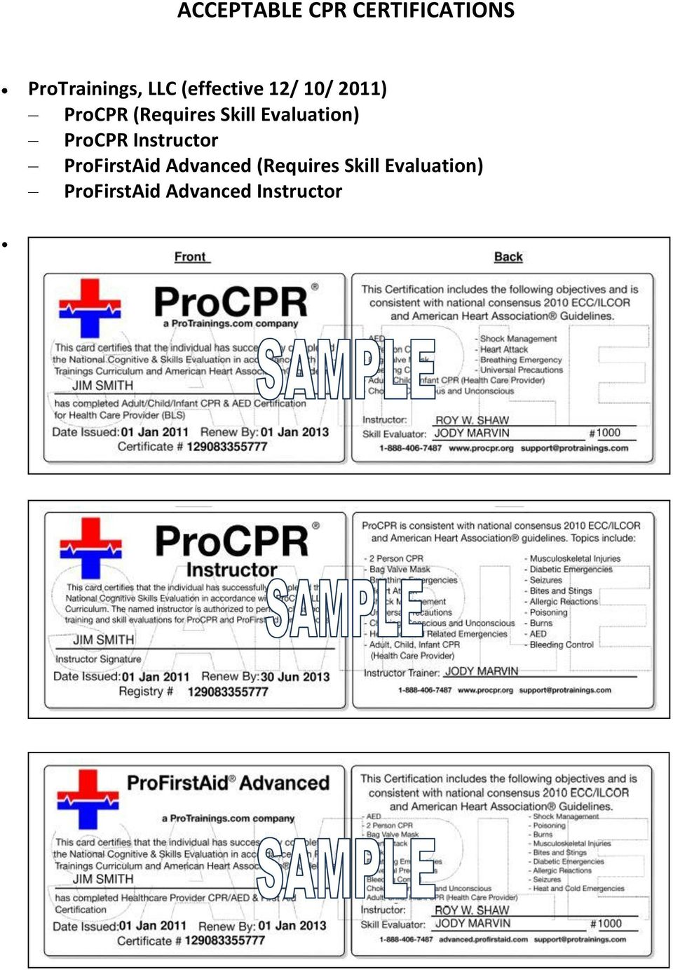 Evaluation) ProCPR Instructor ProFirstAid Advanced