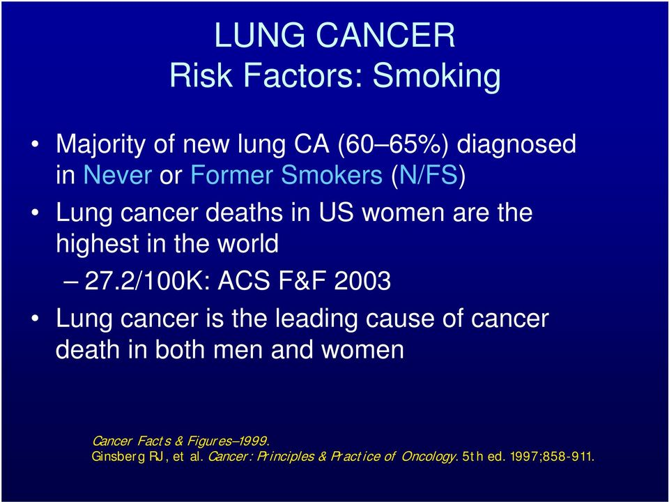 2/100K: ACS F&F 2003 Lung cancer is the leading cause of cancer death in both men and women
