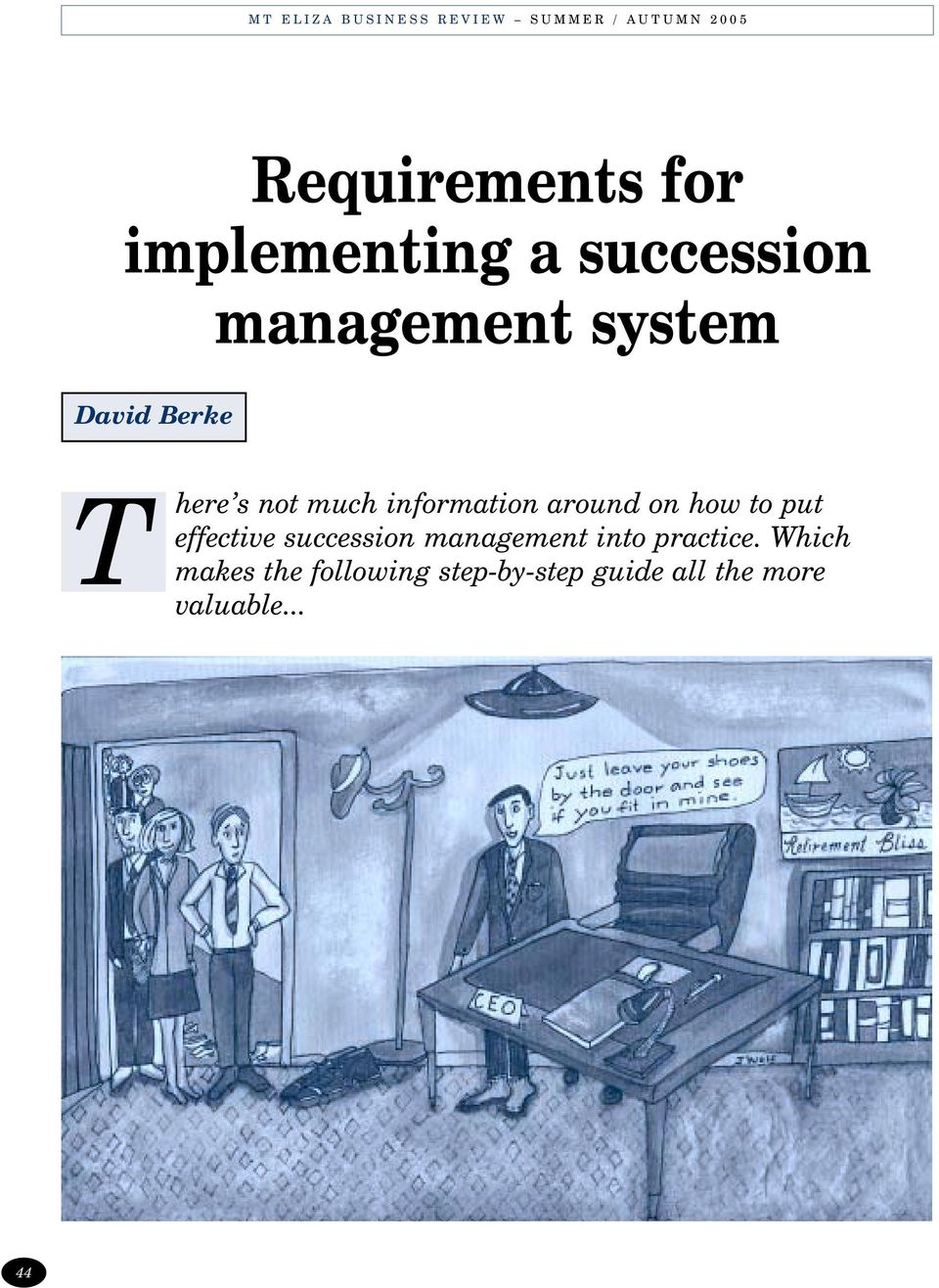 put effective succession management into practice.