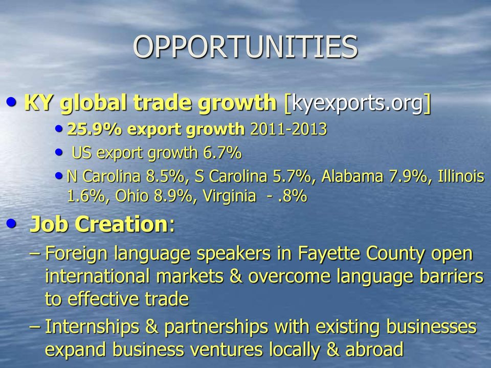 8% Job Creation: Foreign language speakers in Fayette County open international markets & overcome
