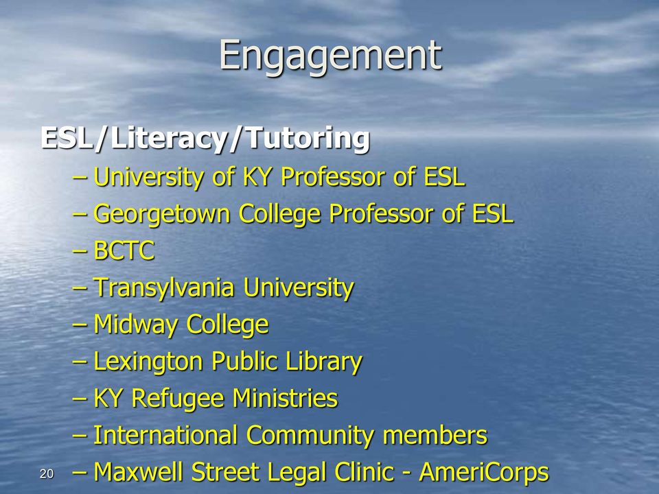 University Midway College Lexington Public Library KY Refugee