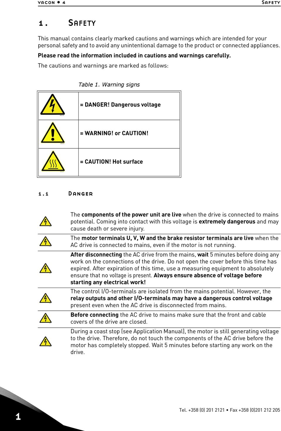 Please read the information included in cautions and warnings carefully. The cautions and warnings are marked as follows: Table 1. Warning signs = DANGER! Dangerous voltage = WARNING! or CAUTION!