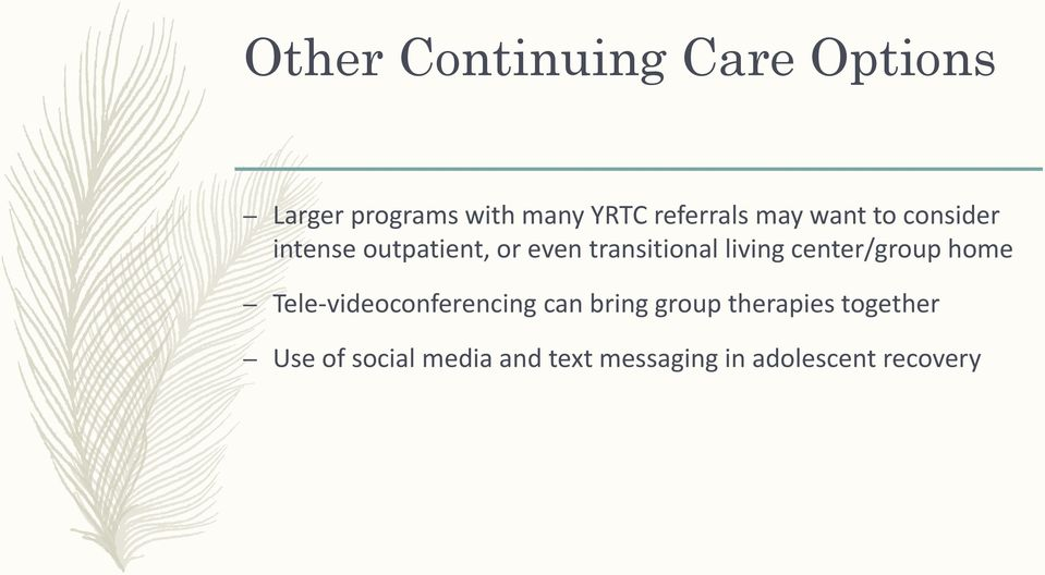 transitional living center/group home Tele-videoconferencing can