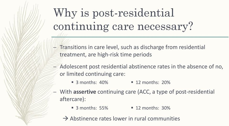 Adolescent post residential abstinence rates in the absence of no, or limited continuing care: 3 months: