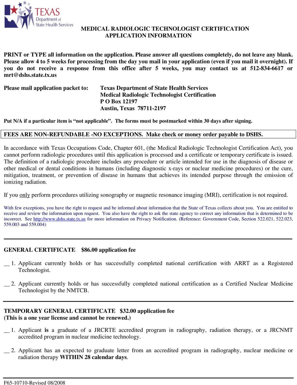 Medical Radiologic Technologist Certification Application