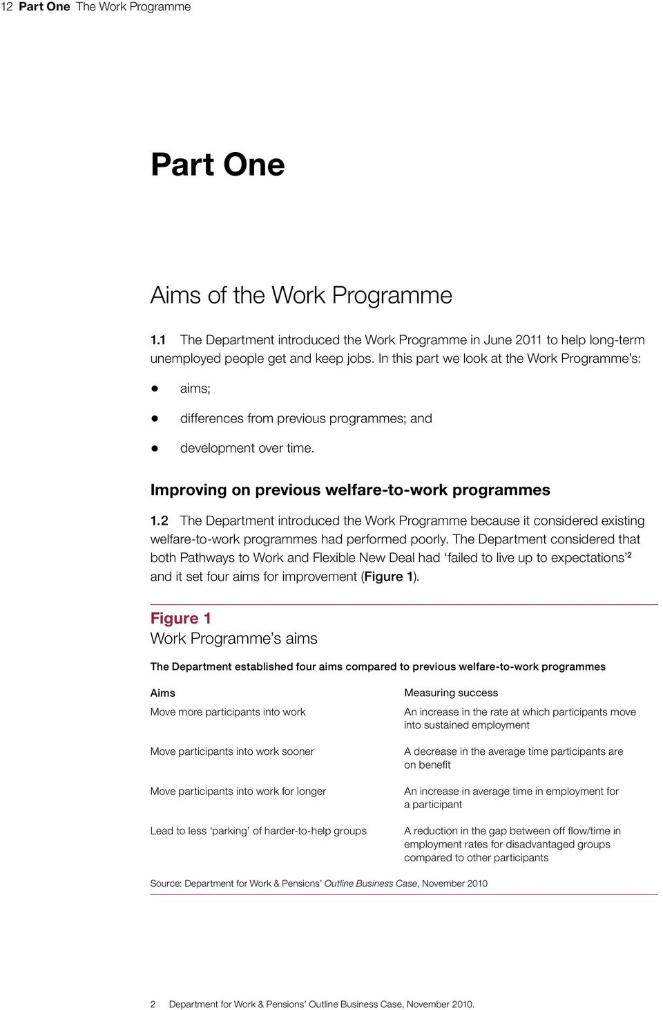 2 The Department introduced the Work Programme because it considered existing welfare-to-work programmes had performed poorly.