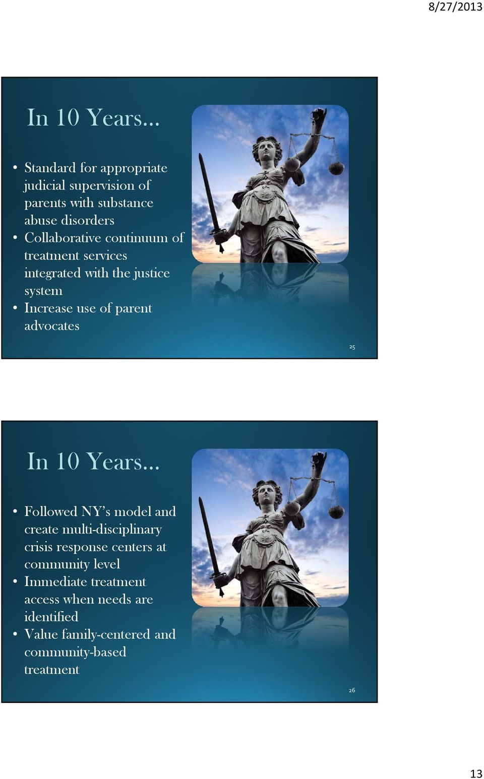 advocates 25 In 10 Years Followed NY s model and create multi-disciplinary crisis response centers at
