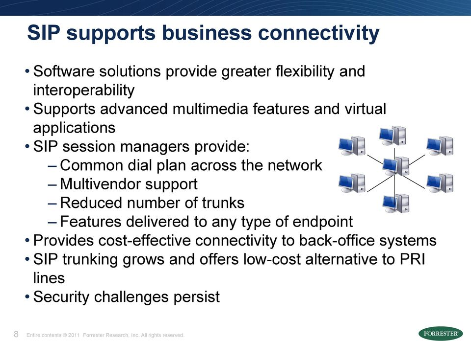 of trunks Features delivered to any type of endpoint Provides cost-effective connectivity to back-office systems SIP trunking grows