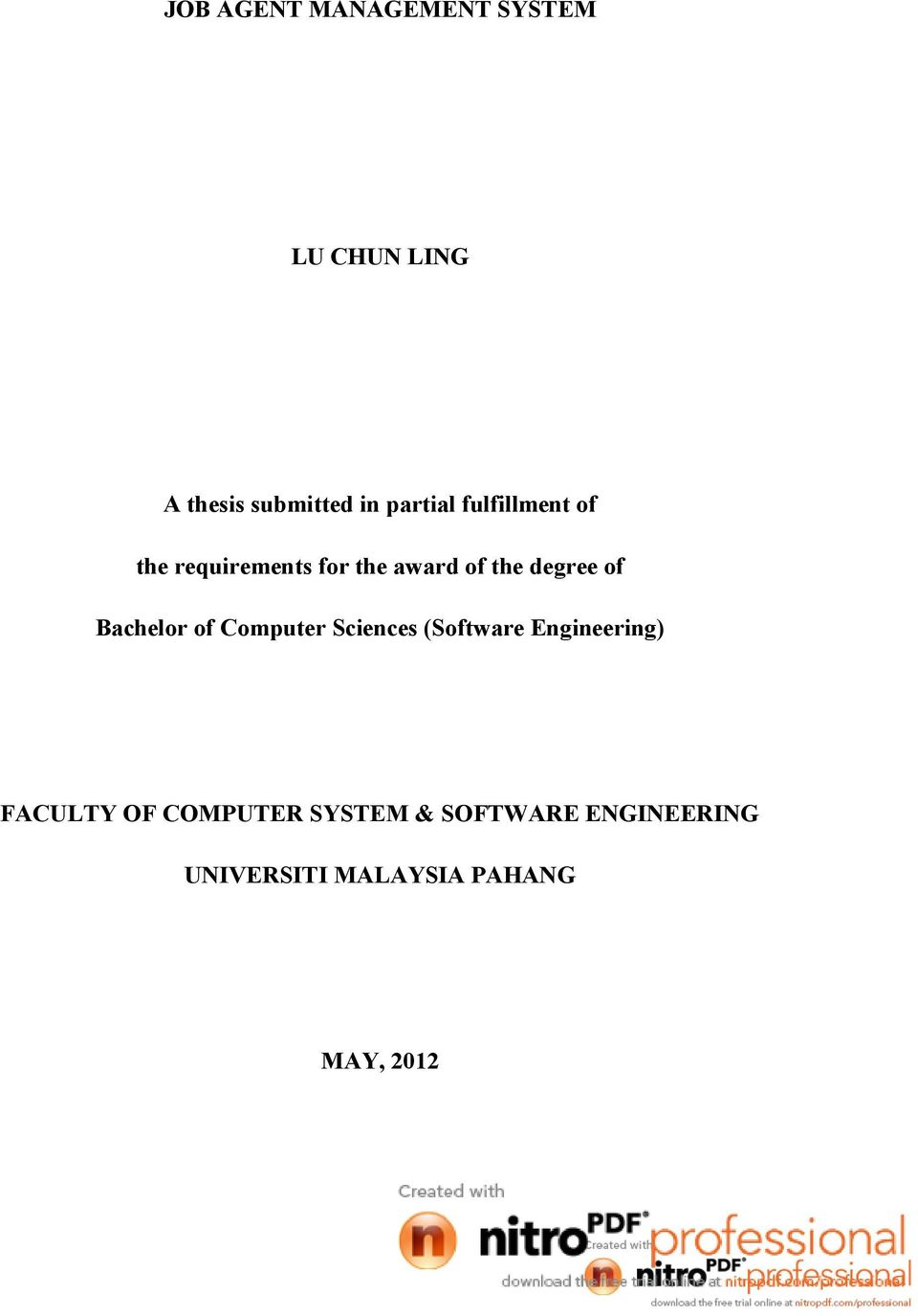 of Bachelor of Computer Sciences (Software Engineering) FACULTY OF