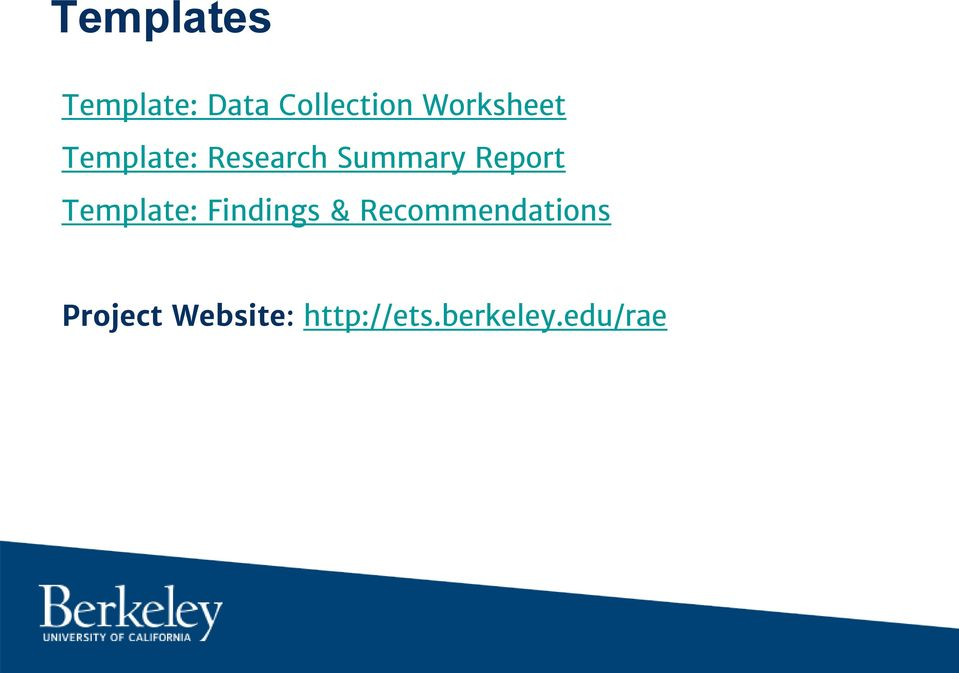 Report Template: Findings &