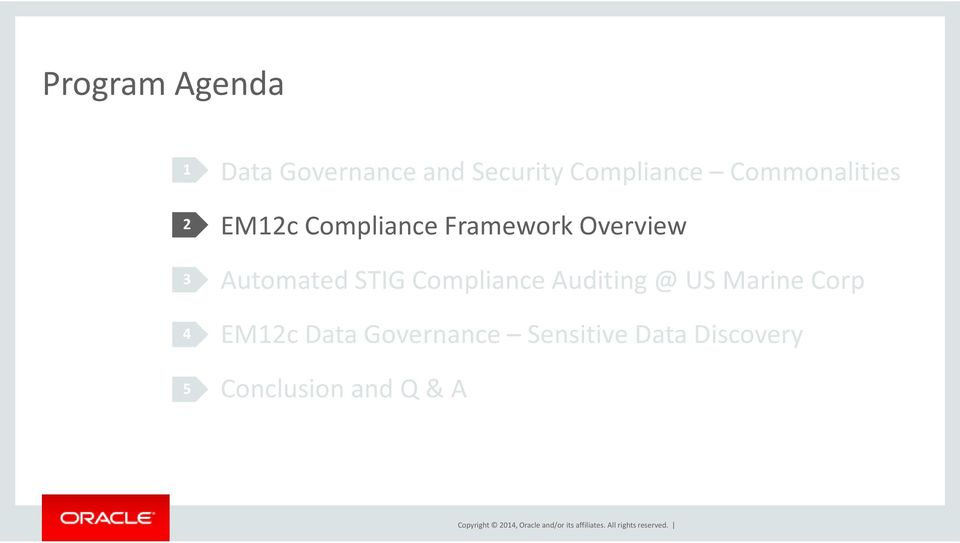 Auditing @ US Marine Corp EM12c Data Governance Sensitive Data Discovery