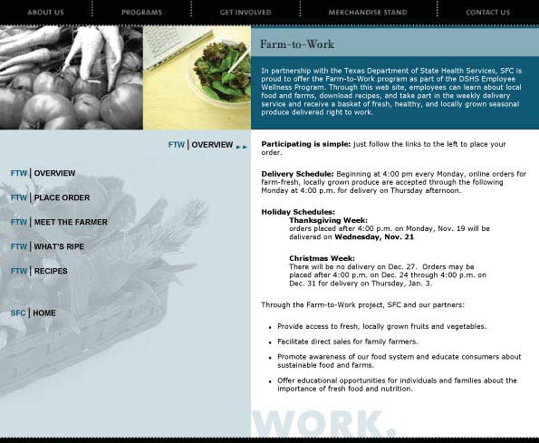 Farm to Work Overview Page