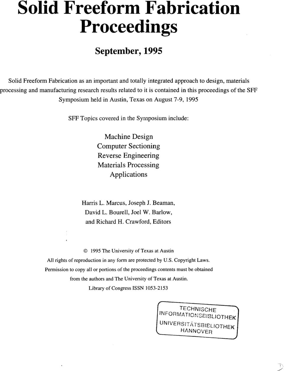 Engineering Materials Processing Applications Harris L. Marcus, Joseph J. Beaman, David L. Bourell, Joel W. Barlow, and Richard H.