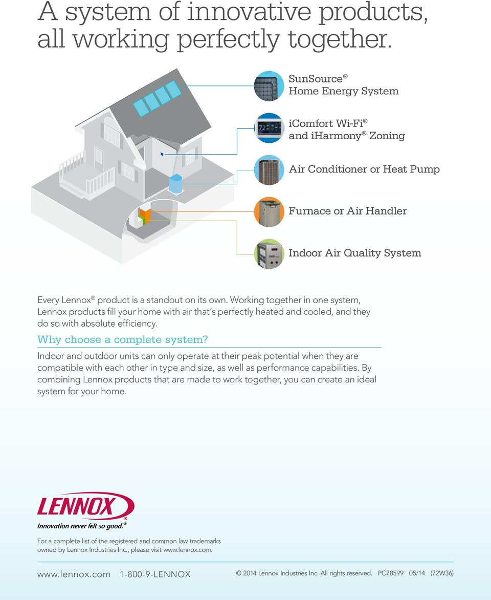 Working together in one system, Lennox products fill your home with air that s perfectly heated and cooled, and they do so with absolute efficiency. Why choose a complete system?