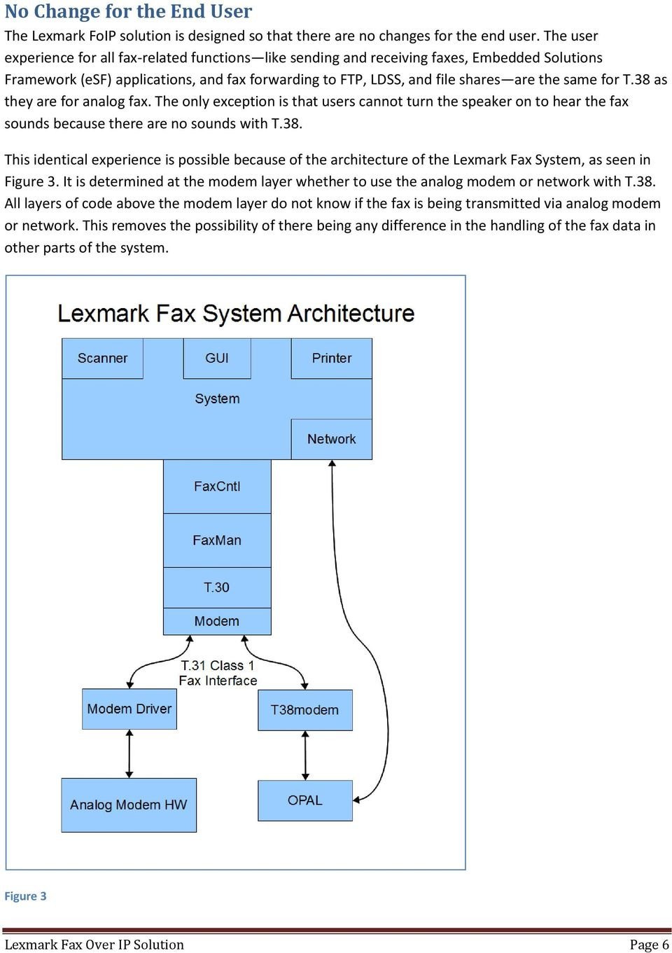 T.38 as they are for analog fax. The only exception is that users cannot turn the speaker on to hear the fax sounds because there are no sounds with T.38. This identical experience is possible because of the architecture of the Lexmark Fax System, as seen in Figure 3.