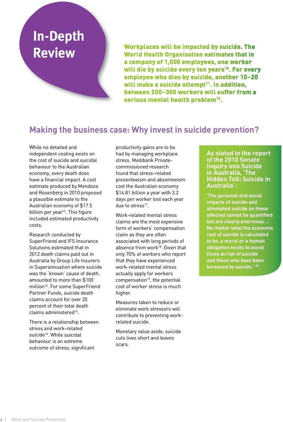 Making the business case: Why invest in suicide prevention?