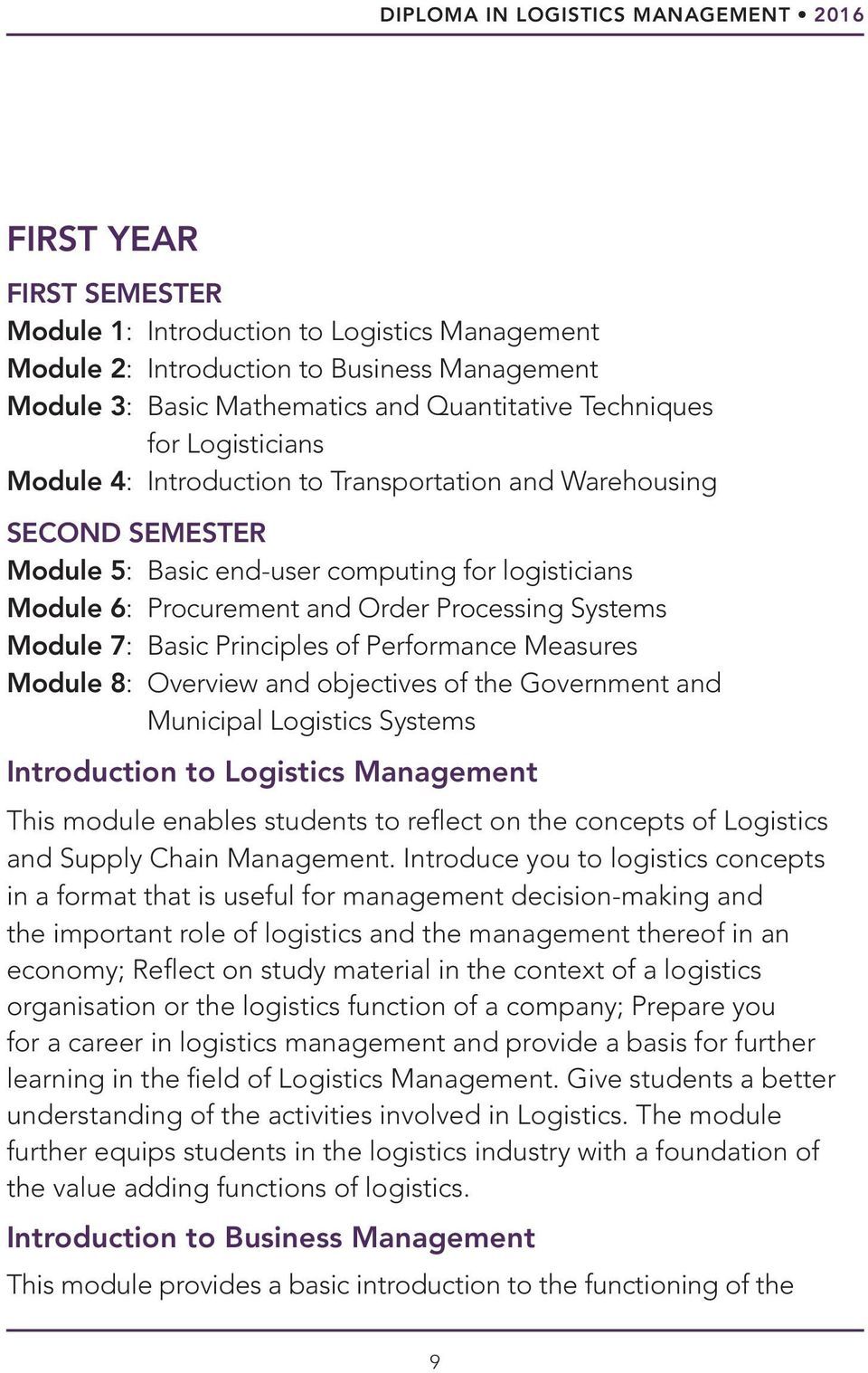 Processing Systems Module 7: Basic Principles of Performance Measures Module 8: Overview and objectives of the Government and Municipal Logistics Systems Introduction to Logistics Management This