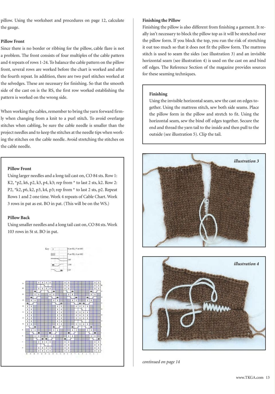 To balance the cable pattern on the pillow front, several rows are worked before the chart is worked and after the fourth repeat. In addition, there are two purl stitches worked at the selvedges.