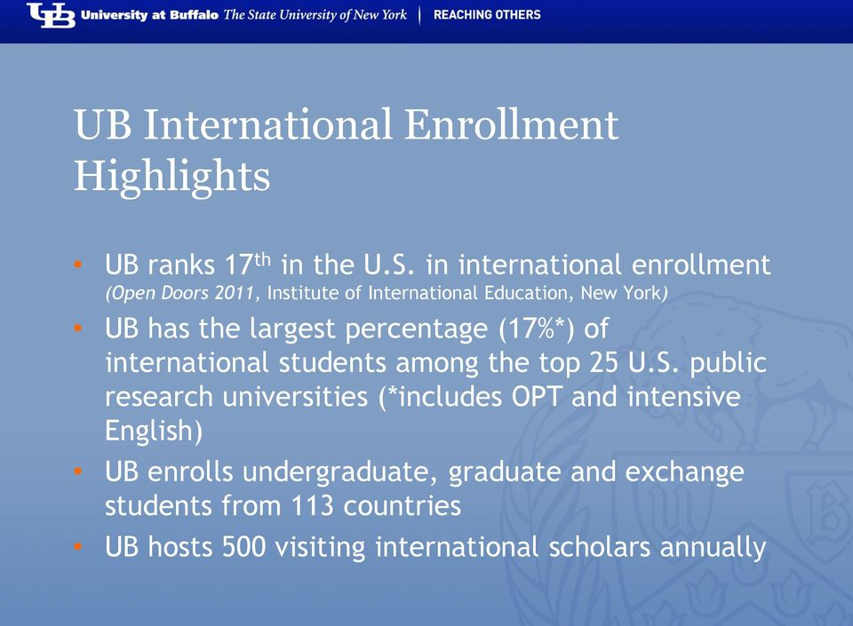 largest percentage (17%*) of international students among the top 25 U.S.