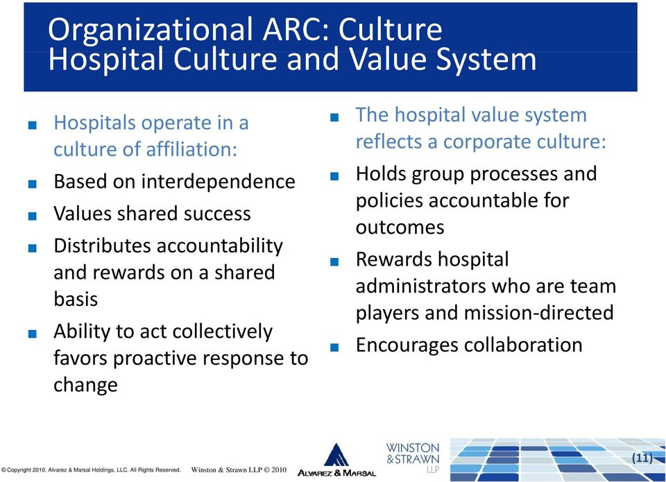 Values shared success outcomes Distributes accountability Rewards hospital and rewards on a shared administrators who are team