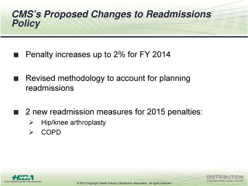 account for planning readmissions 2 new readmission
