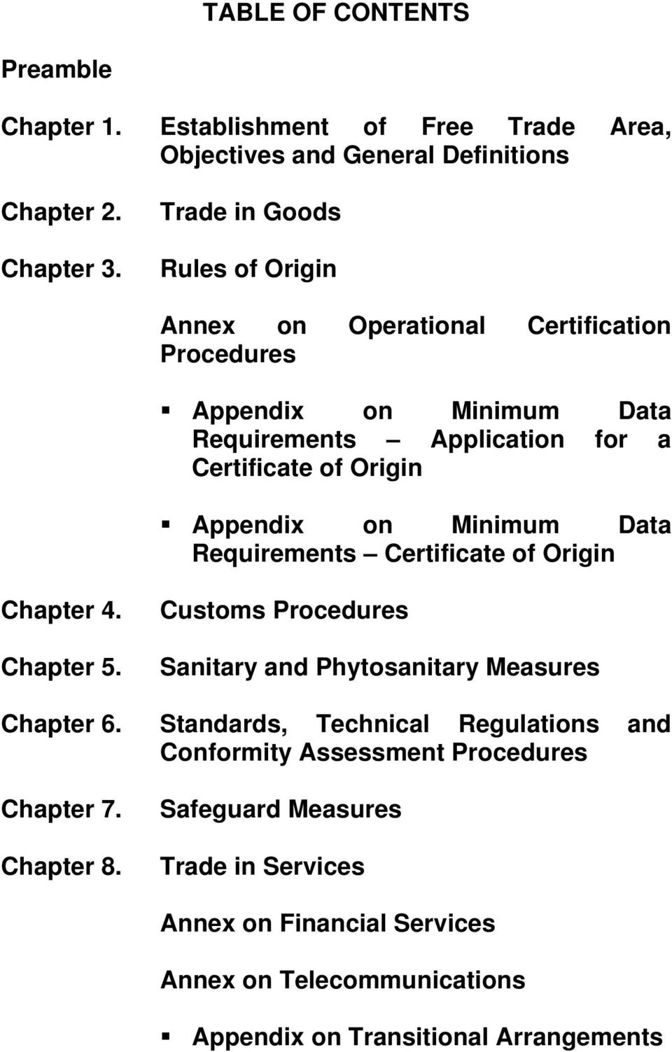 on Minimum Data Requirements Certificate of Origin Chapter 4. Chapter 5. Customs Procedures Sanitary and Phytosanitary Measures Chapter 6.