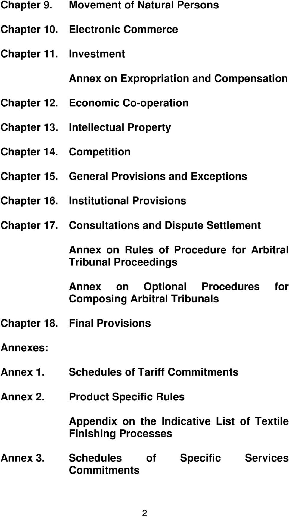 Consultations and Dispute Settlement Annex on Rules of Procedure for Arbitral Tribunal Proceedings Annex on Optional Procedures for Composing Arbitral Tribunals Chapter 18.