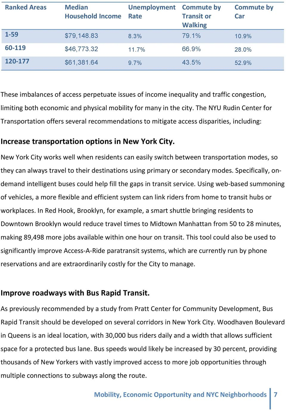 The NYU Rudin Center for Transportation offers several recommendations to mitigate access disparities, including: Increase transportation options in New York City.