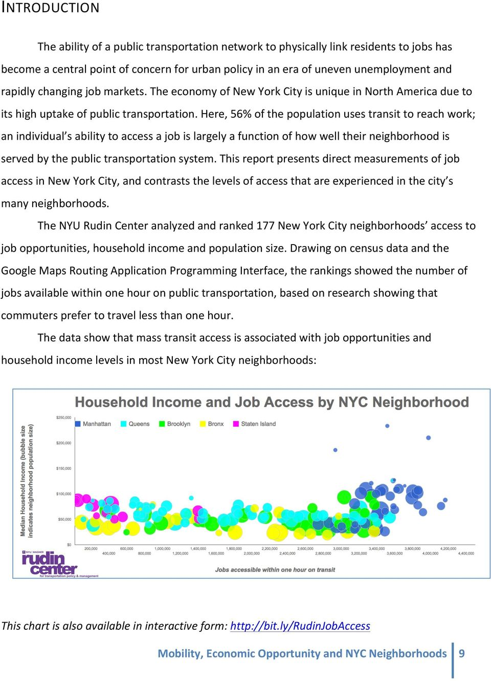 Here, 56% of the population uses transit to reach work; an individual s ability to access a job is largely a function of how well their neighborhood is served by the public transportation system.