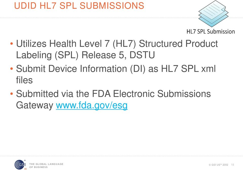 Device Information (DI) as HL7 SPL xml files Submitted
