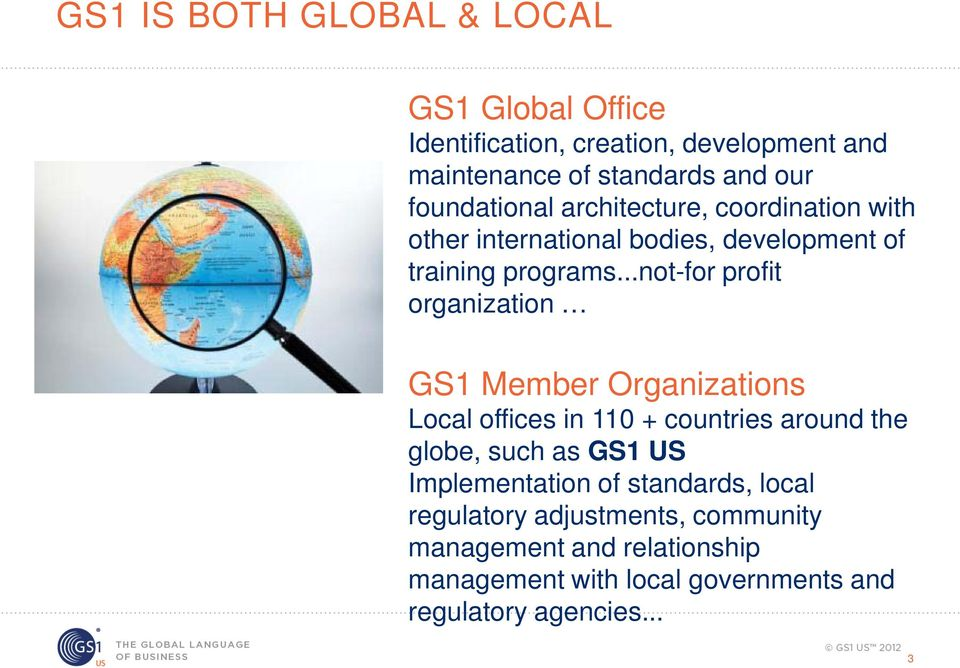 ..not-for profit organization GS1 Member Organizations Local offices in 110 + countries around the globe, such as GS1 US